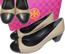 TORY BURCH Beige Ethel Midheel Pump Leather Cap Toe Gold Logo 9- 39 Shoes