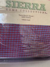 Sierra Home Collection Twin Flat Sheet 100% Yard Dyed Cotton Red Plaid With Bleu