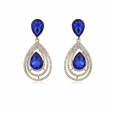 Blue Gold Chandelier Earring Party Cocktail jewellery
