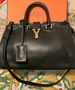 Authentic Saint Laurent Calfskin small Black Leather Tote, good (8/10) condition