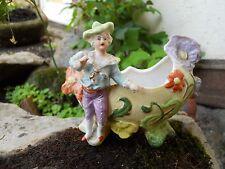 Ancien biscuit polychrome jeune homme , jardinière 1900