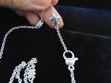 Judith Ripka 925 Sterling Silver Necklace with Fleur de Lis Charm w/ CZ 18""