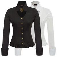Womens Vintage Steampunk Victorian Gothic Ruffle Button Blouse Shirt PLUS SIZE