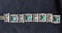 Vintage Mexican sterling Silver And Jadeite Aztec Head Bracelet