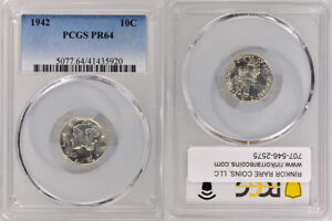 1942 PCGS PR64 UNCIRCULATED SILVER WINGED LIBERTY 'MERCURY' DIME 10 COIN !