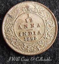 1895 Queen Victoria India 1/12 Anna Coin - (Silvered & Damaged)