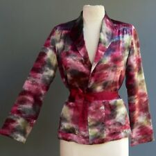 VTG Ruth Matthews 100% Silk Charmeuse Artist Water Color Graphic Jacket Plum M