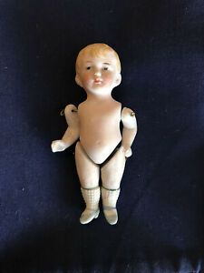 ANTIQUE BISQUE, JOINTED DOLLHOUSE BLONDE BOY DOLL--GERMANY