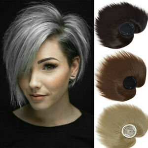 """6"""" Clip In Topper Hair Hairpiece Top Piece Hair Bangs Extensions for Women Men"""