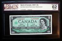 1967 Bank of Canada $1 Rare Replacement Note *L/O Prefix BCS CH.UNC62 BC-45bA