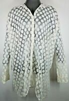 A' Reve Women's Sheer Lace with White Dots Long Sleeve Button Down Blouse Large