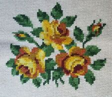 Finished Handmade Needlepoint Tapestry Fabric Floral Yellow Roses Pillow Chair