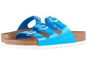 Birkenstock Florida Sandals 3 Stripes Slides Birko-Flor Blue 10