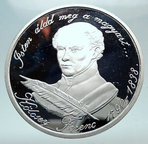1990 HUNGARY 500 Yrs Poet Ferenc Kolcsey Silver Hungarian 500 Forint Coin i80844