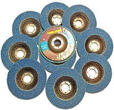 10 Pack 60 Grit 115 x 22mm Zirconium Sanding Flap Disc Abrasive Grinders AB154