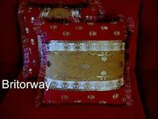 2 Red Gold Blue Brocade Velvet Cushions with Inserts