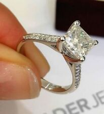 Certified 2.90Ct Princess Cut Diamond Engagement Ring in Solid 14k White Gold
