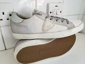 PHILIPPE MODEL PARIS WOMENS GIRLS WHITE LEATHER SEQUINS TRAINERS SIZE UK 7 EU 40