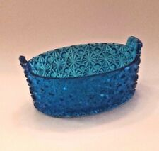 Vintage Bright Blue Buttons & Bows Oval Bowl DISH Double Handles BUCKET PAIL
