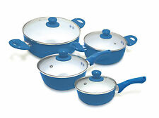 Pack de 4 Ollas de cerámica de color azul con 4 tapas de cristal