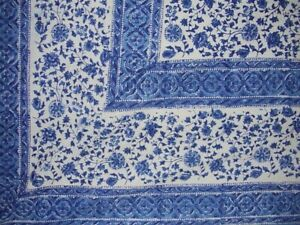 """Rajasthan Block Print Tapestry Cotton Bedspread 108"""" x 88"""" Full-Queen Blue"""