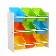 Toy Kids Homfa Toddlers Storage Organizer W/ 9 Multiple Color Plastic Bins