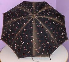 Antique Golf Umbrella All-Over Golfer Print Vintage Carved Wooden Handle