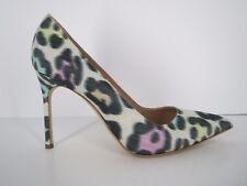 MANOLO BLAHNIK Satin Multi Leopard Print Pointy Toe Heels Pumps 11 41 Italy EUC
