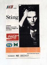Biglietto Ticket STING Nothing like the sun tour TORINO 1988 Concerto Stadio 88