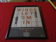 Paul McCartney Wings Let Em In Mini Magazine Poster Ad 1970's Original Framed