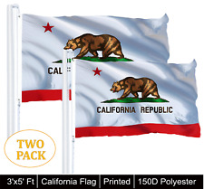 2 PACK 3' x 5' ft. Flag California State Indoor Outdoor Yard 150D