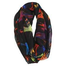 Laurel Burch 100% Poly Rayon Infinity Neck Scarf Brights Horses Black New
