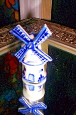 Delft Blue Miniature Porcelain Turning Windmill ~ Made In Holland