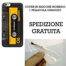 """COVER SILICONE GOMMA CASSETTA TAPE ANNI 90 IPHONE 6 6S 4.7"""" + PELLICOLA OMAGGIO"""