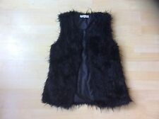 Cameo Rose Black Faux Fur Gillet, Size: S