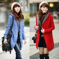 Womens Chic Warm Hooded Long Sweater Cardigan Coat Fur lined Outwear Solid Thick