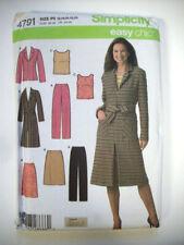 Easy chic wardrobe dress pants tops coat pattern 4721 size 12 14 16 18 20 uncut