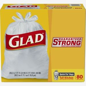 Glad Guaranteed Strong 13 gal. Tall Kitchen Trash Bags 80pk Quick Tie 60034 NEW
