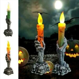 Skull Stand LED Candle Skeleton Hand Light Decoration Party Halloween Lamp New