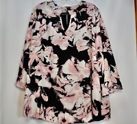 Womens Plus Avenue Pink Black Floral Bell Sleeve Blouse Tunic 18/20