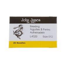 Taglia 12 Aghi John James Perline 51 mm Confezione da 25 Made in UK (E39/4)