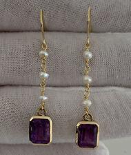 Pearl Drop Dangling earrings, 9k 375 9ct Gold Emerald Cut Amethyst & Baroque