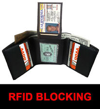 RFID SAFE BLOCKING BLACK MEN'S LEATHER ID CARDS PLAIN TRIFOLD WALLET FLAP TOP