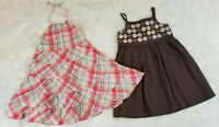 Gymboree (lot of 2) CUTE Sun Dresses Size 4T Pink Plaid Backless Ruffles & Brown
