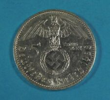 1938-G NAZI GERMANY 5 MARK COIN - SWASTIKA - SILVER