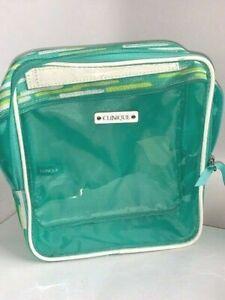 "Clinique Transparent  Cosmetic Bag  Square (Green/Blue) 7""x7"""