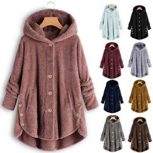 Women Fluffy Warm Fleece Fur Jacket Outerwear Tops Winter Hooded Jacket Coat AUS