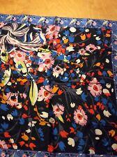 $39 Echo 100% silk scarf floral  black bright colors K225
