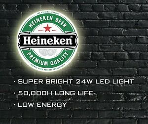 Heineken Beer LED ILLUMINATED SIGN, WALL MOUNTED LIGHT BOX for Garage, Man Cave