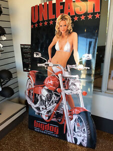 BIG DOG MOTORCYCLES LG DEALER STANDING WALL POSTER 2004 MASTIFF W/ BIKINI GIRL